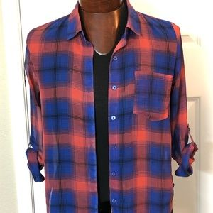 Sheer plaid button up blouse